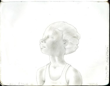 3 - Light Over A Girl - Study - pencils